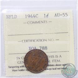 Newfoundland 1-cent 1944C ICCS Certified AU-55