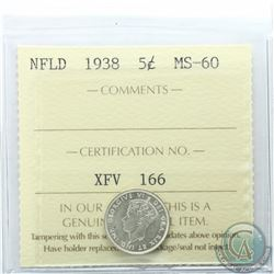 Newfoundland 5-cent 1938 ICCS Certified MS-60