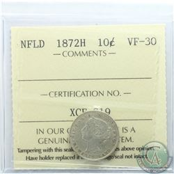 Newfoundland 10-cent 1872H ICCS Certified VF-30