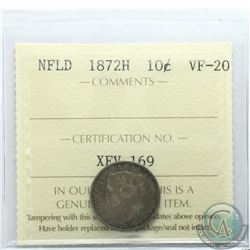 Newfoundland 10-cent 1872H ICCS Certified VF-20