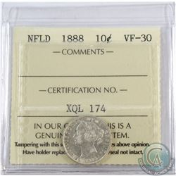 Newfoundland 10-cent 1888 ICCS Certified VF-30