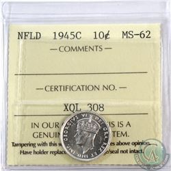 Newfoundland 10-cent 1945C ICCS Certified MS-62