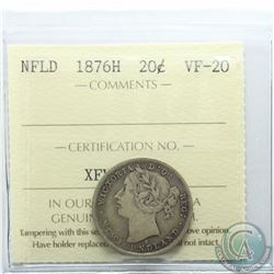Newfoundland 20-cent 1876H ICCS Certified VF-20