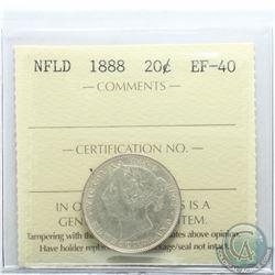 Newfoundland 20-cent 1888 ICCS Certified EF-40