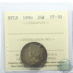 Newfoundland 20-cent 1890 ICCS Certified VF-30