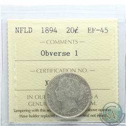 Newfoundland 20-cent 1894 Obverse 1 ICCS Certified EF-45