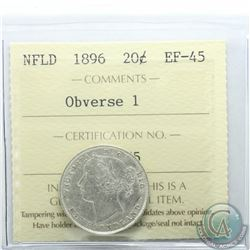 Newfoundland 20-cent 1896 Obverse 1 ICCS Certified EF-45. Nice bright full white coin