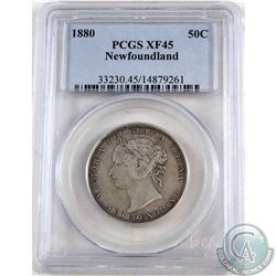 Newfoundland 50-cent 1880 PCGS Certified XF-45. An attractive coin with natural grey tones throughou