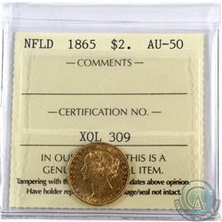 Newfoundland $2 1865 Gold ICCS Certified AU-50. A nice first year issue coin