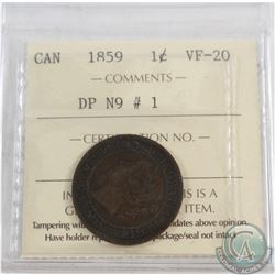 1-cent 1859 DP N9 #1 ICCS Certified VF-20.