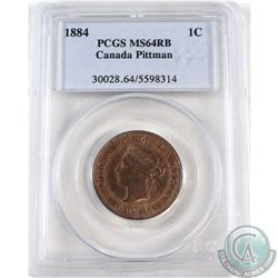 1-cent 1884 Pittman Sale PCGS Certified MS-64 Red/Brown.