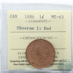 1-cent 1886 Obv. 1 ICCS Certified MS-63 Red.