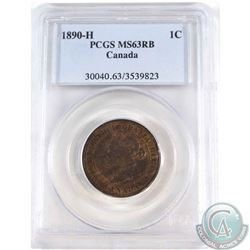 1-cent 1890H PCGS Certified MS-63 RB.