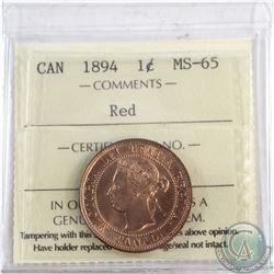 1-cent 1894 ICCS Certified MS-65 RED  Tied for Top grade by ICCS