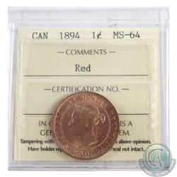 1-cent 1894 ICCS Certified MS-64 RED. A full Red lustrous coins that has eye appeal of a that of hig