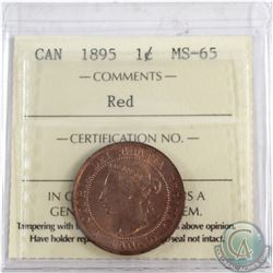 1-cent 1895 ICCS Certified MS-65 RED  Choice coin with smooth red fields.