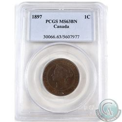 1-cent 1897 PCGS Certified MS-63 Brown.