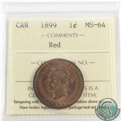 1-cent 1899 ICCS Certified MS-64 Red. A well struck coin with deep original red Fields.