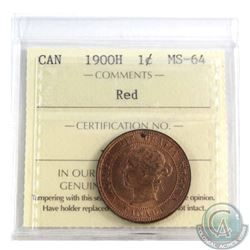 1-cent 1900H ICCS Certified MS-64 Red  Over 90% Full red coin.