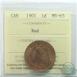 1-cent 1901 ICCS Certified MS-65 RED  A Nice Deep Burnt orange original with Red Luster.