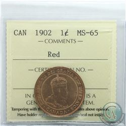 1-cent 1902 ICCS Certified MS-65 RED. Nice First Year Edward VII coin