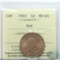 1-cent 1903 ICCS Certified MS-65 RED  Attractive coin with near 100% full Red Fields.
