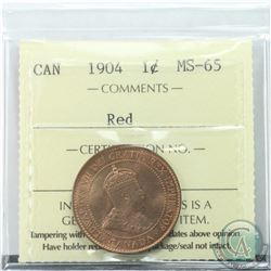 1-cent 1904 ICCS Certified MS-65 RED. Vibrant deep orange glow throughout.