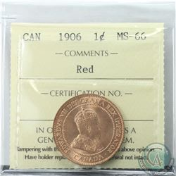 1-cent 1906 ICCS Certified MS-66 RED  Near 100% full red with exceptional radiant Luster. Coin is ti