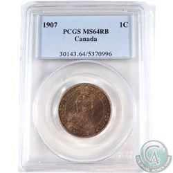 1-cent 1907 PCGS Certified MS-64 RB.