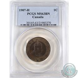 1-cent 1907H PCGS Certified MS-63 Brown.