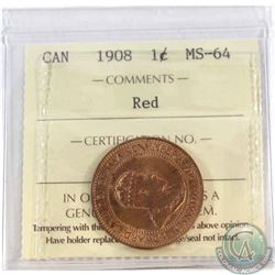 1-cent 1908 ICCS Certified MS-64 Red.
