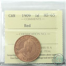 1-cent 1909 ICCS Certified MS-65 RED