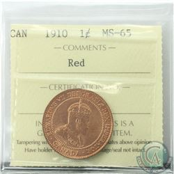 1-cent 1910 ICCS Certified MS-65 RED  Tied for the 2nd Highest grade by ICCS.