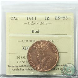 1-cent 1911 ICCS Certified MS-65 RED  A near full red coin with satin like fields.