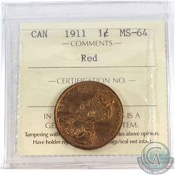1-cent 1911 ICCS Certified MS-64 Red.