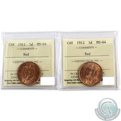 1-cent 1911, & 1912 Both ICCS Certified MS-64 RED  2pcs.