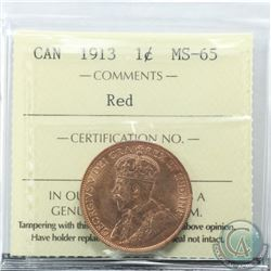 1-cent 1913 ICCS Certified MS-65 RED. Attractive original red coin.