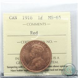 1-cent 1916 ICCS Certified MS-65 RED.
