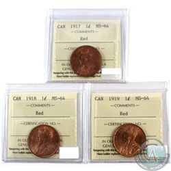 1-cent, 1917, 1918, & 1919 all ICCS Certified MS-64 RED  3pcs.