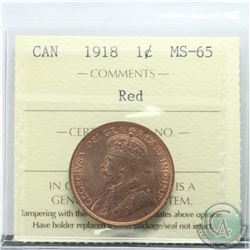 1-cent 1918 ICCS Certified MS-65 RED.