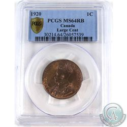 1-cent 1920 Large Cent PCGS Certified MS-64 RB. Coin contains strong strike qualities with an appeal