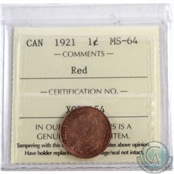 1-cent 1921 ICCS Certified MS-64 RED