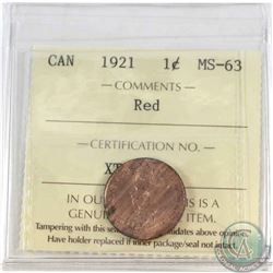 1-cent 1921 ICCS Certified MS-63 Red.