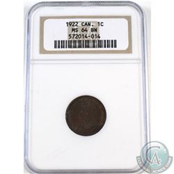 1-cent 1922 NGC Certified MS-64 Brown.