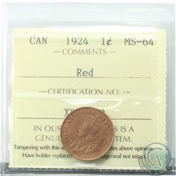 1-cent 1924 ICCS Certified MS-64 RED a rare mint state coin with deep tones of red. Low population o