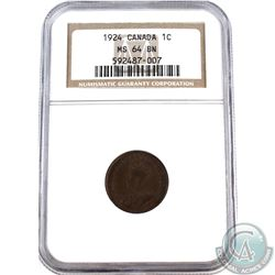 1-cent 1924 NGC Certified MS-64 Brown.