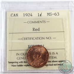 1-cent 1924 ICCS Certified MS-63 RED  Exceptional reverse, great colour throughout.