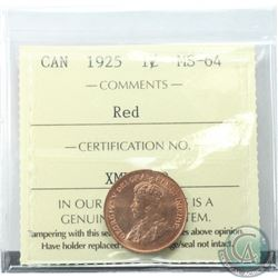 1-cent 1925 ICCS Certified MS-64 RED  A great coin with bright red fields throughout, Low population