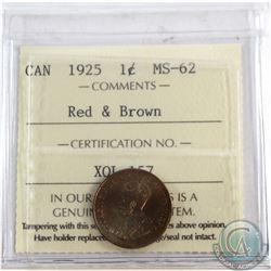 1-cent 1925 ICCS Certified MS-62 RED & Brown. *Key Date* Attractive tones throughout coin.
