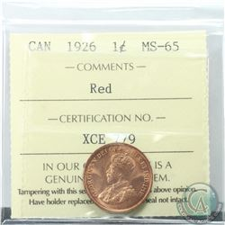 1-cent 1926 ICCS Certified MS-65 RED  Superb Gem Coin with exceptional strike qualities and eye appe
